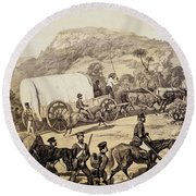 A Convoy Of Wagons Round Beach Towel