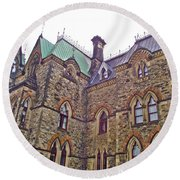 A Corner Of Parliament Building In Ottawa-on Round Beach Towel