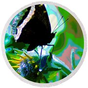 A Cosmic Butterfly Round Beach Towel