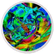A Cosmic Dragonfly On A Psychedelic Rose Round Beach Towel