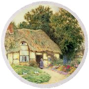 A Cottage By A Duck Pond Round Beach Towel