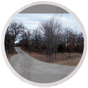 A Country Driveway Near The Brazos River Round Beach Towel