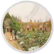 A Country Garden At Bray, Berkshire Round Beach Towel