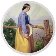 A Country Girl Standing By A Fence Round Beach Towel