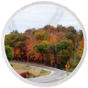 A Country Road In Autumn Round Beach Towel