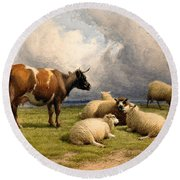 A Cow And Five Sheep Round Beach Towel