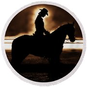 A Cowgirls Prayer Evening Ride Round Beach Towel