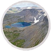 A Crater Lake From The Seaplane In Katmai National Preserve-alaska  Round Beach Towel