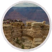 A Crowd And A Canyon Round Beach Towel