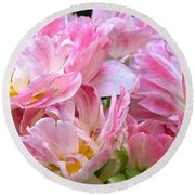 A Crowd Of Tulips Round Beach Towel