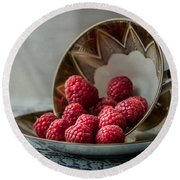 A Cupfull Of Raspberries Round Beach Towel