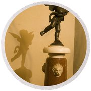 A Dancing Cupid In The Palazzo Vecchio Round Beach Towel