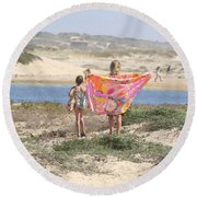 A Day At The Beach Round Beach Towel