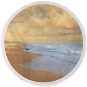 A Day At The Beach Round Beach Towel
