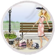 A Day At The Derby Round Beach Towel
