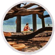 a day in the Florida Keys Round Beach Towel
