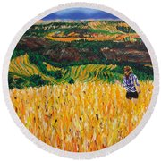 A Day In Tuscany Round Beach Towel