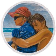 A Day On The Beach Round Beach Towel