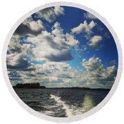 A Day On The Lake Round Beach Towel