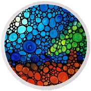 A Day To Remember - Mosaic Landscape By Sharon Cummings Round Beach Towel
