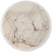 A Dead Stag Round Beach Towel by Sir Edwin Landseer