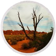 A Dead Tree Foreground A Maze Of Rocks Round Beach Towel