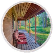 A Deck By The Methow River At Cottonwood Cottage Round Beach Towel