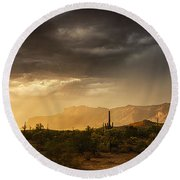 A Desert Monsoon Sunset  Round Beach Towel