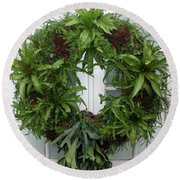 A Different Christmas Wreath Round Beach Towel