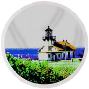 A Distant Lighthouse Round Beach Towel