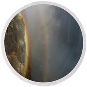 A Double Rainbow At Victoria Falls Round Beach Towel