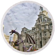 A Dragon In Philly Round Beach Towel
