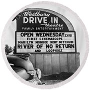 A Drive-in Theater Marquee Round Beach Towel