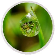 A Drop Of Water For Every Blade Of Grass Round Beach Towel