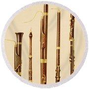 A Dulcian, An Oboe, A Bassoon Round Beach Towel