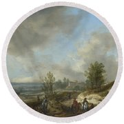 A Dune Landscape With A River And Many Figures Round Beach Towel
