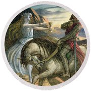 A Fairy And A Knight Round Beach Towel