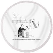 A Father Encourages His Son At The Playground Round Beach Towel by Emily Flake