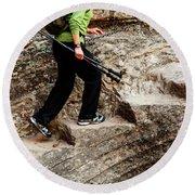 A Female Hiker Walking Up Steps Chopped Round Beach Towel