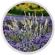 A Field Of Lavender Round Beach Towel