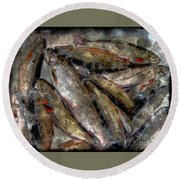 A Fine Catch Of Trout - Steel Engraving Round Beach Towel