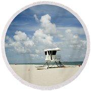 A Fine Day At The Beach Round Beach Towel
