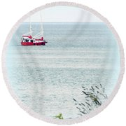 A Fine Day For A Red Boat Round Beach Towel