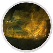 A Fire In The City Round Beach Towel