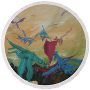 A Flight Of Dragons Round Beach Towel