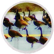 A Flock Of Geese Round Beach Towel
