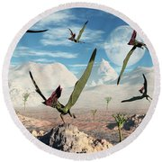 A Flock Of Thalassodromeus Pterosaurs Round Beach Towel