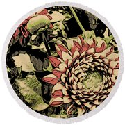A Floral View Round Beach Towel
