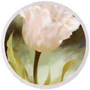 One Beautiful Flower Impressionism Round Beach Towel