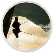 A Fly Fisherman Standing In A River Round Beach Towel